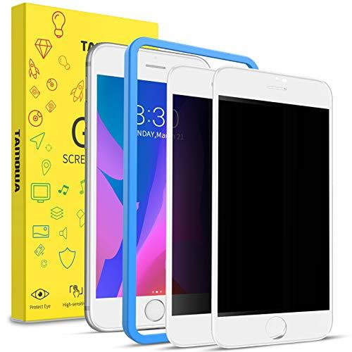 TAMOWA Protector Pantalla Privacidad para iPhone 8 Plus/iPhone 7 Plus (2 Piezas), 3D Cubierta Completa Anti Spy Cristal Templado, Anti Espía Vidrio Templado para iPhone 8 Plus/ 7 Plus, Blanco