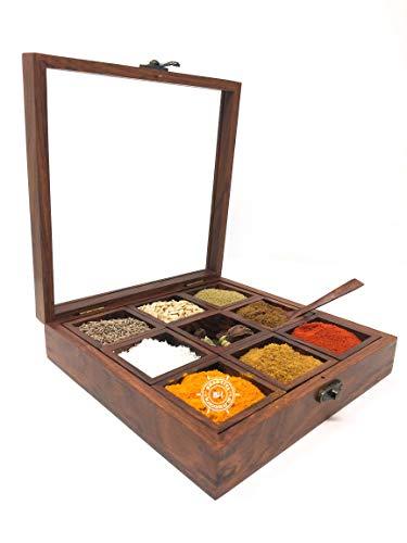 Caja para especias de madera nuevo diseño superior hoja de cristal para especias recipiente para especias caja de especias con dos cuchara. Bhartiya artesanía