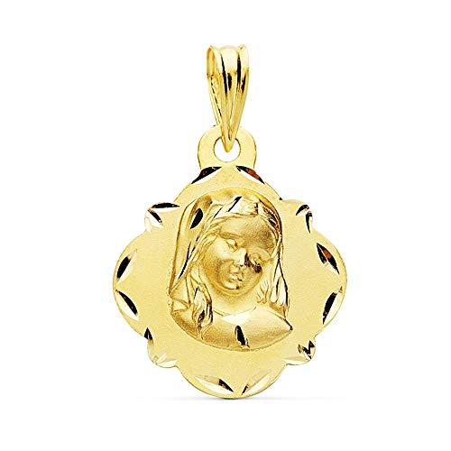 Medalla Oro 18K Virgen Niña 19mm. Bordes Tallados [Ac1046Gr] - Personalizable - Grabación Incluida En El Precio