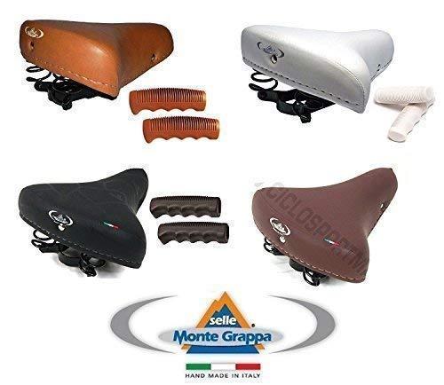 MONTEGRAPPA Sella Molle + Manopole Bianco - Marrone - Nero Ideale Bicicletta Graziella - R - City Bike - Freni a Bacchetta ECC (Sella+Manopole Bianco)