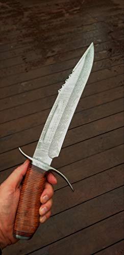 "DKC Knives DKC-UL-122 Oskwa Damascus Fixed Blade Loveless Style Bowie Hunting Knife Custom Hand Made16.5 Long 105"" Blade 1.4 Lbs Ultraline Series"