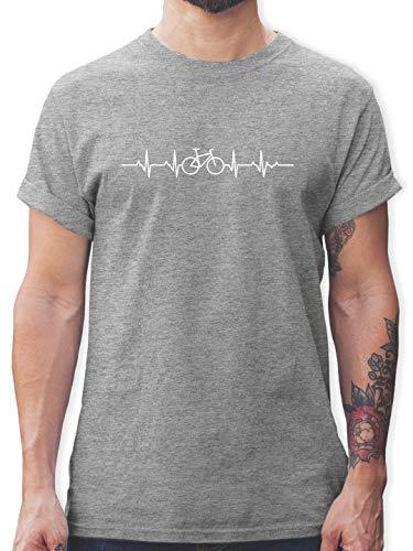 Fahrzeuge Fahrrad Bagger und Co. - Herzschlag Fahrrad - L - Grau meliert - Shirt mit Fahrrad Motiv Herren - L190 - Tshirt Herren und Männer T-Shirts