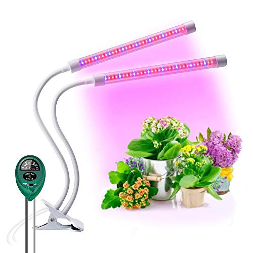 Plant Lights for Indoor Plants -, Plant Light with 64 Full Spectrum LED, Adjustable Dual Head Gooseneck Growing Lamps with Stand, 5 Dimmable Levels 3/9/12H Timer by Jasius