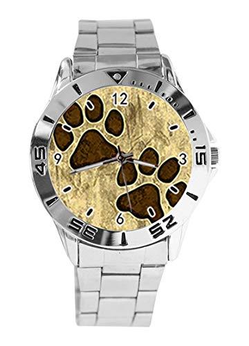 Grungy - Reloj de Pulsera analógico con diseño de Huellas de Pata de Mascota, Cuarzo, Esfera Plateada, Correa clásica de Acero Inoxidable para Hombre y Mujer