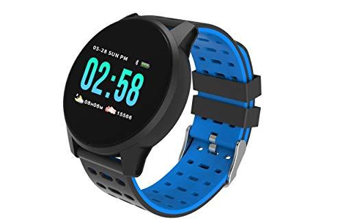 TimeTech SmartWatch (Blau) Fitnestracker Sport Armbanduhr Smart Watch mit Facebook, Twitter Whatsapp,Skype-Benachrichtigung,kompatible IOS, Android für Damen, Herren in DREI Farben wasserdicht