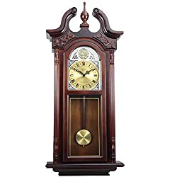 Clock Collection Cherry Oak 38 in. Antique Chiming Wall Brown Classic Rectangular Glass Wood Finish Roman Numeral Display Automatic Chime Shut Off