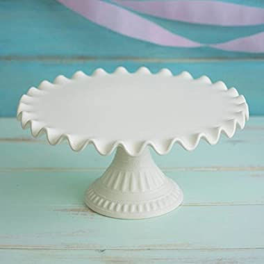 Cake & Dessert Stand, 14 in. Wide, Ruffled, Ceramic, Cream