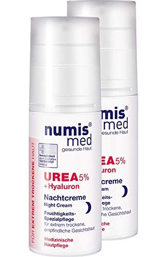 numis med Nachtcreme mit 5% Urea & Hyaluronsäure - Gesichtspflege frei von allergenen Duftstoffen - Gesichtscreme für sensible, zu Neurodermitis neigende Haut - Gesicht Creme im 2er Pack (2x 50 ml)