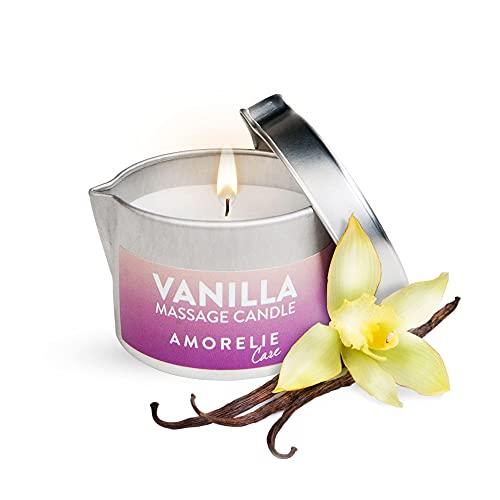 AMORELIE Care - Candela da massaggio profumata alla vaniglia che si trasforma in olio ideale per massaggi di coppia (50ml)