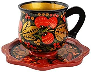 Khokhloma Tea Cup Hand Made in Russia Set for Tea Traditional Tableware Vintage Retro Classic Hohloma Painted Soviet Folk Art Gift Natural Wooden Lacquered
