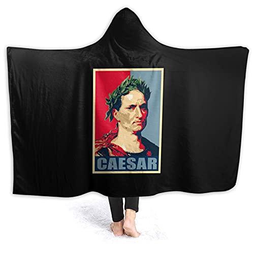 Julius Caesar Pop Art Manta con capucha de franela usable manta mágica castillo escuela insignia con capucha para sofá escuela hogar viaje Cosplay capa para adultos niños 60 pulgadas x 50 pulgadas