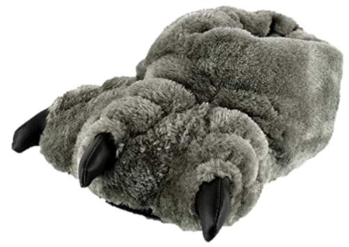Thingimijigs Boys Monster Feet 3D Plush Novelty Slippers - Grey UK 13-1