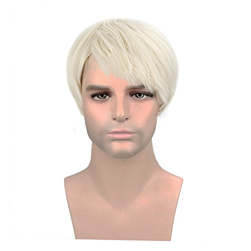 Blonde Wigs for Men ,Acecharming Male Wig Fashion Synthetic Hair Wigs For Daily Use with Wig Cap