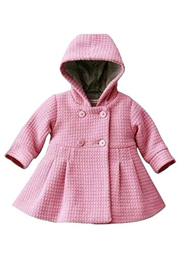 Verypoppa Baby Girls Hooded Long Sleeve A Line Trench Coat Jacket Outwear Top (12-24 Months, Pink)