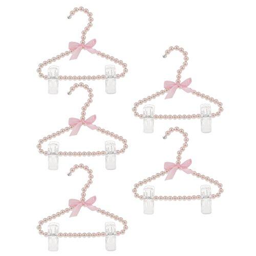 Sharplace 5Pcs 20Cm Supporto Per Abito Per Pantaloni Con Perline In Rilievo Perlato Con Clip Rosa