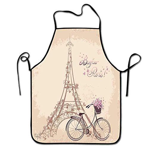Not Applicable Tablier de Paris pour Les Enfants Bonjour Paris Tour Eiffel et vélo Vintage avec des Fleurs Rétro Couleur Douce Tablier imprimé chérie crème Rose