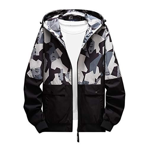 MAYOGO Softshell Jacke Herren Regenjacke Casual Camouflage Jacke Sweatjacke Dünne Übergangsjacke Zip Kapuzenjacke Outdoor Jacke (Grau, 4XL / EU:44)