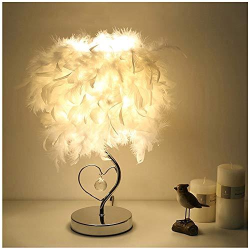 Lámpara de Mesa Luz Nocturna Utilizar en el Dormitorio, Sala de Estar, Mesa de Café, Librería Lámpara de Cabecera Blanca, Lámpara de Mesa Decorativa de Plumas