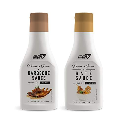 Got7 Premium Sauce - Kalorienfreie Grill, Burger und Würz Sauce - Perfekt zum Abnehmen - 285 ml (BBQ & Saté Sauce, 2x 285ml)