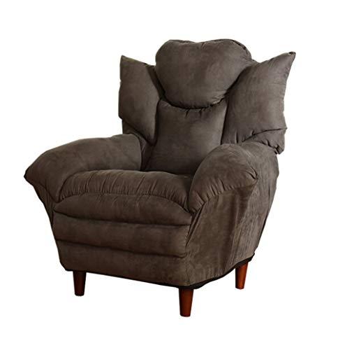 H-ei Sofá Perezoso Ocasional Silla de Tela cómoda Cómoda Oficina Dormitorio Siesta Grueso Simple Sofá pequeño 87 × 102 cm (Color : Brown)