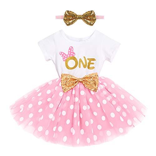 FYMNSI Vestido de fiesta cumpleaños para bebé con tutú manga corta y princesa, lazo lentejuelas, cinta la frente, sesiones fotos, juego ropa Rosa One. 12 meses