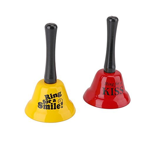 6MILES 2 PCS Ring for a Smile and Kiss Hand Bells Set Great Fun Creative Call Children Toy Adult Party Prop Novelty Gag Gifts for Hilarious Valentines Lovers Wedding