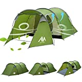 Camping Tents with Vestibule for 2-4 Person, AYAMAYA Multifunction Family Camping Tunnel Tent 2 Rooms [ Living Room + Removable Bedroom ], 2 Man People Backpacking Tents for Hiking Motorcycle Bike