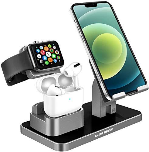 YINLAI Ladestation Ständer kompatibel mit Apple iWatch 6/SE/5/4/3/2/1 und Airpods Pro/2/1, 3-in-1 Docking Station Ständer für iWatch Airpods iPhone iPad Tablet Android Smartphone, Silbergrau