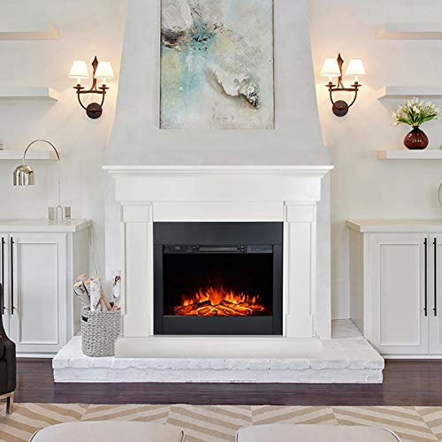 Barton 48 Inches Electric Fireplace - 1500W Space Fireplace Heater Realistic Flame Log Hearth with Remote Control, White