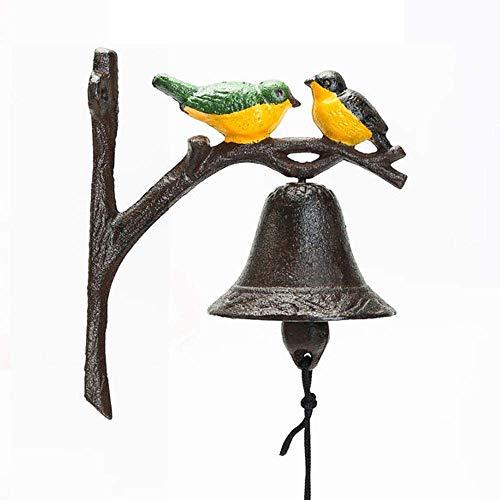 Sungmor Pesada obligación de hierro fundido para colgar, campana, operada a mano, decoración para puerta, puerta, pared, color de pájaros, campana, jardín, casa, tienda y decoración de exterior