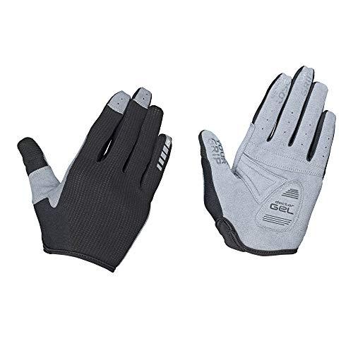 GripGrab Unisex-Adult Women's Shark rutschfeste Stoßdämpfende Gepolsterte Vollfinger Mountainbike Handschuhe für Frauen Gravel Fahrradhandschuhe Gloves Cycling Long, Schwarz, S