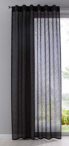 Gardine Vorhang Schal verdeckte Schlaufen Ausbrenner Qulität modern mit abstraktem Muster, 235x140, Schwarz, 63000