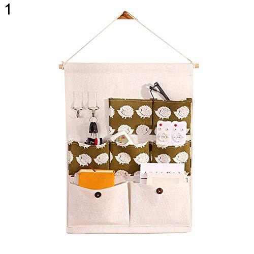 angel3292 Hot sale 7 Pockets Cute Flamingo Polka Dots Pattern Door Wall Hanging Storage Pouch Bag
