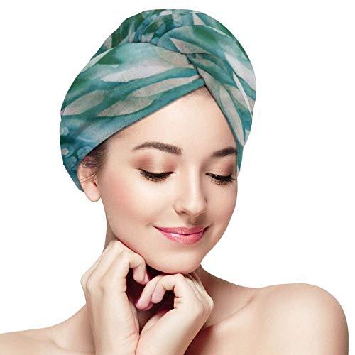 XBFHG Enveloppes De Serviette De Cheveux en Microfibre pour Les FemmesCapuchon De Cheveux Secs Rapides avec Bouton - Teal Automne Feuilles D'aquarelle Feuille Bleue Turquoise Abstraite Berry
