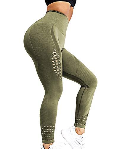RIOJOY Hollow Out Seamless Leggings Women Gym High Waist Compression Yoga Pants