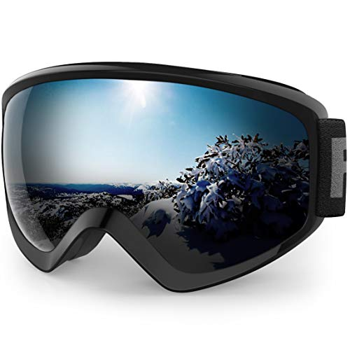findway Gafas Esqui Niño 8~14 Años Mascara Esqui Niño Gafas de Esqui Niño Niña OTG Ajustable Anti-Niebla Protección UV Compatible con Casco para Esquiar Deportes de Invierno (Lente Negra (VLT 6.8%))