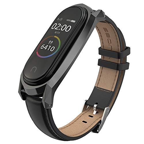 AHANGA Kompatibel für Xiaomi Mi Band 4 Armband, Mi Band 3 Lederarmband Echtleder Ersatzband Wasserdicht Replacement Leder Wrist Strap Band Erweiterbar Metall Schließe Handgelenk Band