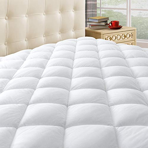 """Taupiri King Quilted Mattress Pad Cover with Deep Pocket (8""""-21""""), Cooling Soft Pillowtop Mattress Cover, Hypoallergenic Down Alternative Mattress Topper"""
