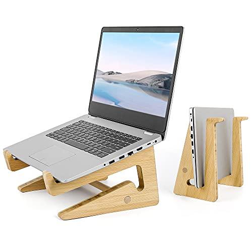 sanlinkee Laptop Stand Supporto per Laptop Legno,Supporto PC Portatile,Desktop Stand per Ventilato e Pieghevole,Supporto Computer Bambù Laptop Stand per MacBook PRO Air Dell HP Samsung Lenovo e Altri