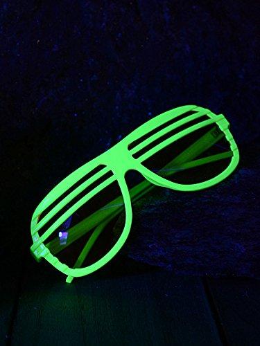 Schwarzlicht Brille Oval mit Lamellen Disco Neon Gelb