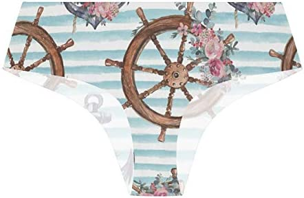 Ropa interior elástica para mujer, bikini bragas suaves y transpirables, con diseño floral náutico y ancla para volante de las señoras hipster Bragas