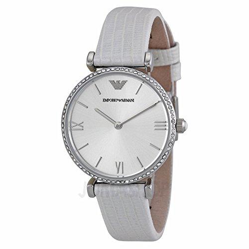Armani Emporio Armani retro zilveren wijzerplaat wit lederen armband dames horloge