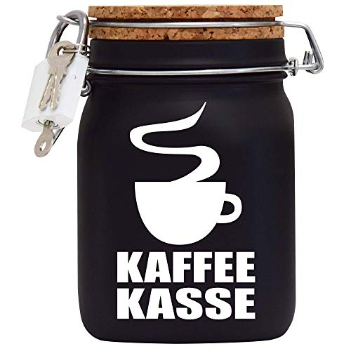 Kaffee-Kasse XXL-Spardose mit Vorhängeschloss in Weiss/Geld-Geschenk Idee XXL Sparbüchse Glas Geldgeschenk mit Korkdeckel und Sparschlitz Schwarz Middle