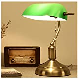 MIVPD Lámpara de banquero verde, con base de latón decorada, aspecto retro, lámpara de escritorio, pantalla de cristal, interruptor de cordón [clase energética A++]