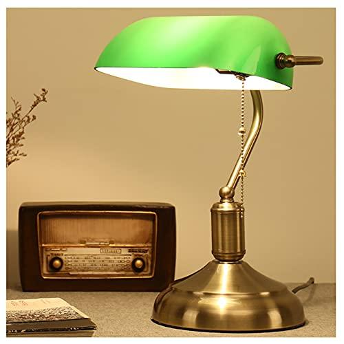 MIVPD Bankerlampe grün Glass Bankers Schreibtischlampe, mit Zugketten Schalter Steckvorrichtung verziertem Messingbasis Optik Retro Traditionelle Bankerlampe[Energieklasse A++]