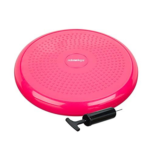 Relaxdays Balance Kissen, max. Gewicht 140 kg, Balance Pad mit Luftpumpe, Ballsitzkissen m. Noppen, Fitnesskissen, pink