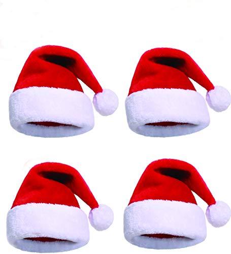 Adults Santa Hat Bulk Christmas Hat santa claus hats Christmas Santa Hats for Women/Men/Kids/teens(4 pack)