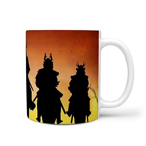 CCMugshop Divertida taza de café de cerámica, diseño japonés, guerrero, puesta de sol, retro, color blanco, 330 ml