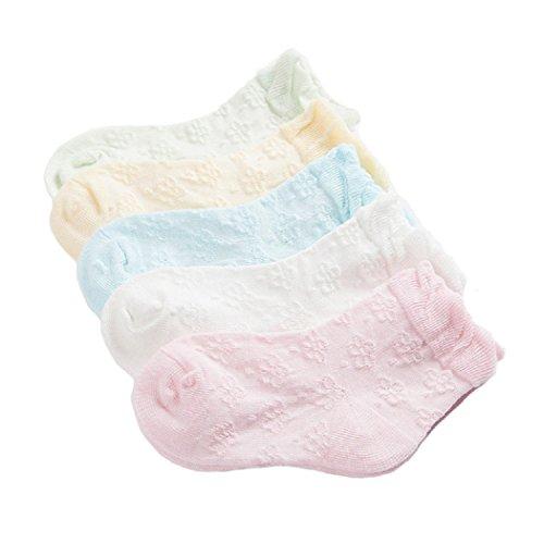 DEBAIJIA Calcetines Bebé Niñas Calcetines Finos De Flores Algodón Cómodo Lindo Malla Primavera Verano Varios Colores 0-12 meses(Pack de 5 Pares)
