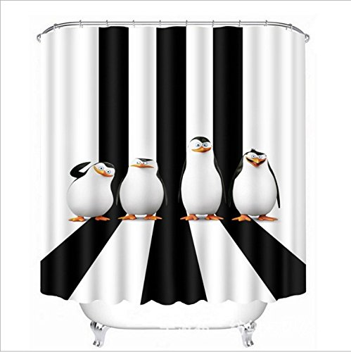 LB Antarktische Pinguine Duschvorhang Schwarze & Weiße Streifen Polyester Stoff Extra Lang Bad Gardinen Wasserdicht Anti Schimmel Badezimmer Deko Heimzubehör mit Vorhanghaken,180X180cm